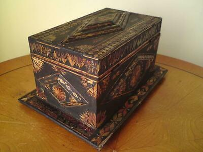 19thC French Napoleonic Prisoner of War Marquetry Straw work box Paisley liners