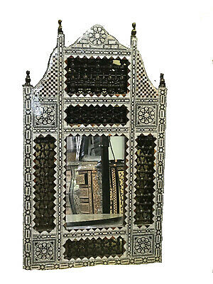 Awesome Handmade Moroccan Mother of Pearl Inlay Wood Wall Mirror Frame W Mirror