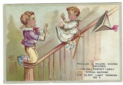 Victorian Trade Card - Wheeler & Wilson Sewing Machines - Sliding Down the Stair