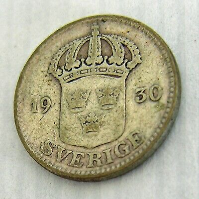 1930 G Sweden Silver Coin 25 Ore Circulated Ungraded
