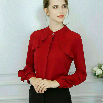 Elegant Summer Women Casual Chiffon Long Sleeve Ladies Shirt Loose Tops Blouse