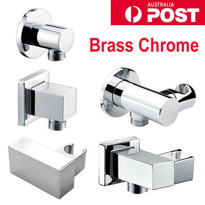 WELS Handheld Shower Head Holder Adjustable Water Inlet Wall Connector Chrome