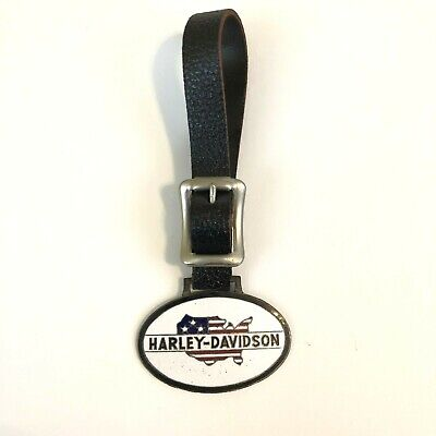 Vintage Harley-Davidson Watch Fob Leather Strap Advertising D&A Cycle Shop