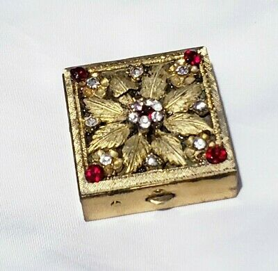 Vintage Gold Tone Square Pill Box Travelers With Rhinestone Flower On Top