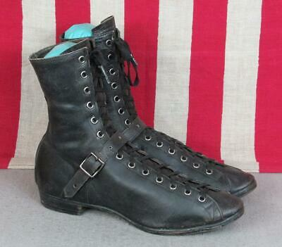 Vintage Antique Black Leather High Top Athletic Shoes Boxing Boots early 1900s