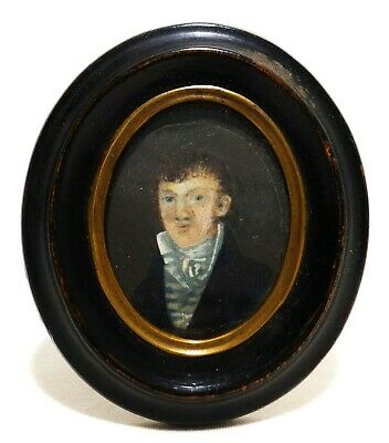 Early-Mid 19Th C American Antique W/C Portrait Of Gentleman, In Oval Wood Frame