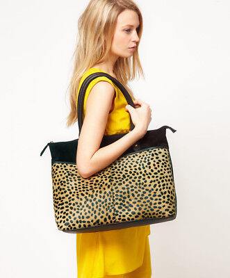 NWT £125 OASIS London Genuine LEATHER Animal Front  Large Tote BAG Black