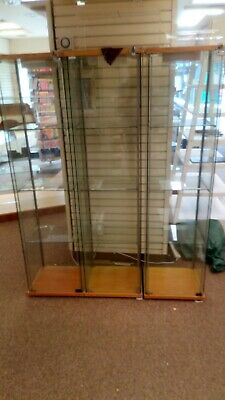 Retail glass cabinets 50cm Square approx 1.5m high approx