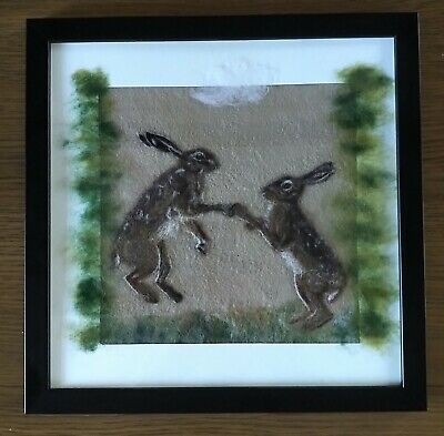 Boxing March Hares - Needle Felted Painting