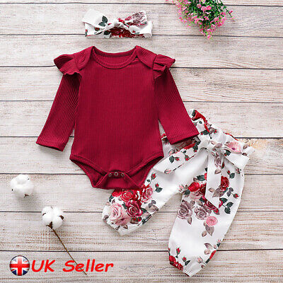 UK Newborn Baby Girls Romper Bodysuit Floral Pants Headband Clothes Sets Outfits