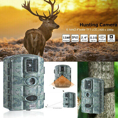 Waterproof 12MP 1080P HD Low Glow LED Game Trail Camera Night Vision RD1000 tt