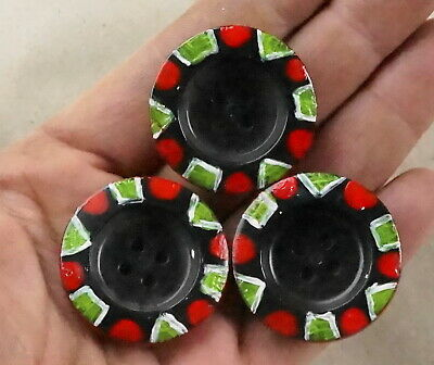 Vintage lot 3 buttons big black hand painted old plastic ~ 1950s USSR