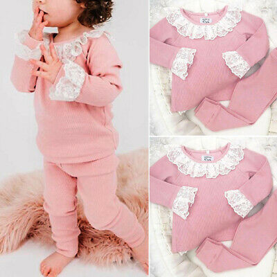 UK Toddler Baby Girl Clothes Lace Ruffle Long Sleeve Top T-shirt Pants Outfit