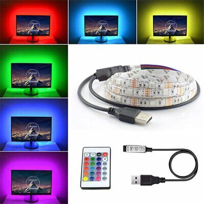 5m Ruban LED Bande USB 60 LEDs 5050 RGB LED TV Light Strip Flexible Noël Déco FR