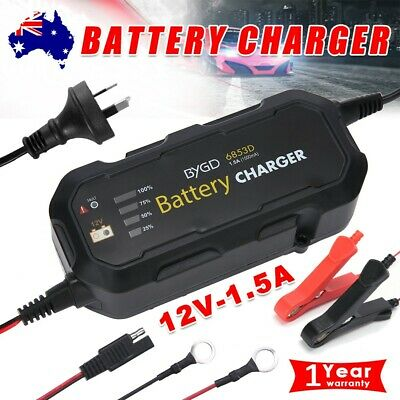 Smart Battery Charger Maintainer 1.5A 12V Automatic SLA AGM Car Boat Motorcycle