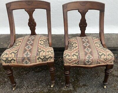 Two True Vintage Chairs On Castors With Original Springs VGC