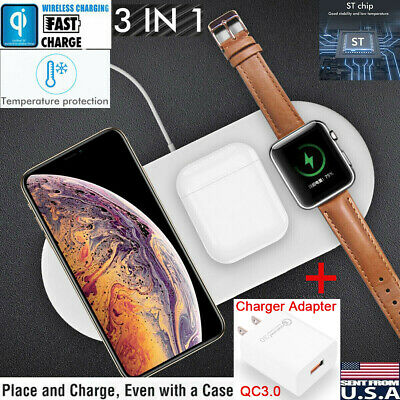 3in1 QI Wireless Charger Charging Dock Station for Apple Watch / iPhone/AirPods