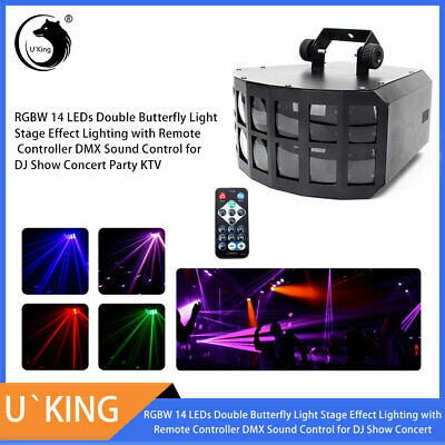 RGBW 14 LED Butterfly Light DJ Stage Effect Lighting Remote DMX Party Disco Lamp