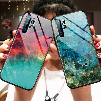 For Huawei Mate 20 Pro P30 Starry Sky Marble Tempered Glass Hard Back Case Cover