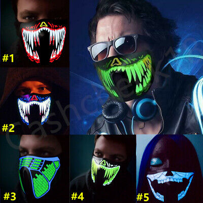 LED Rave Music Luminous Scary Mask Light Up Party Purge Halloween Glow In Dark