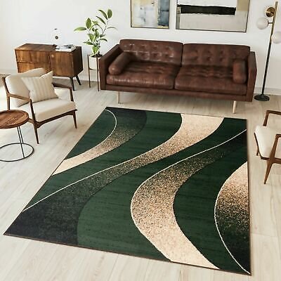 Small Extra Large Green Area Rug Modern Design Wave Pattern Bedroom Living Room