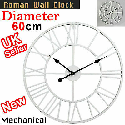 60cm White Large Outdoor Garden Wall Clock Metal Roman Numeral Round Face UK