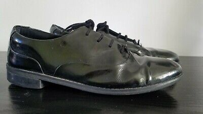 Girls Clarks Patent Lace Up Brogue School Shoes 'Drew Star' Size 4.5 (Older)