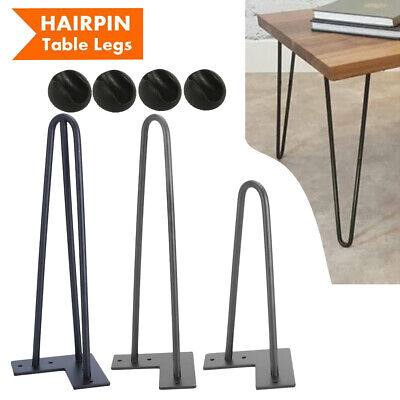 "4X Hairpin Table Legs Size 10"" -14"" 10mm with Free Floor Protector Feet UK B"