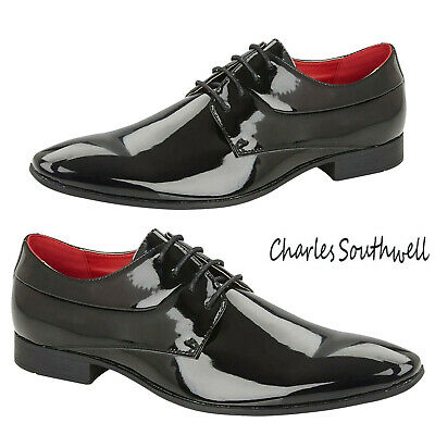 Mens Patent Wedding Shoes Dress Party Work Office Glossy Faux Leather Shoe