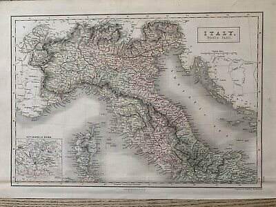 1850 North Italy Hand Coloured Antique Map 169 Years Old