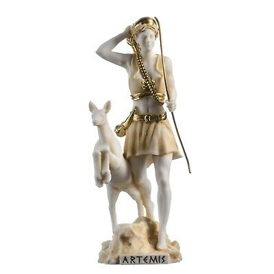 Goddess Artemis Diana Greek Statue Nature Moon Gold Tone Alabaster 8.85""
