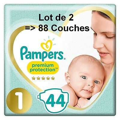 Couches Pampers Premium Protection Taille 1 - Lot de 2 x 44 - 2kg-5kg Absorbant
