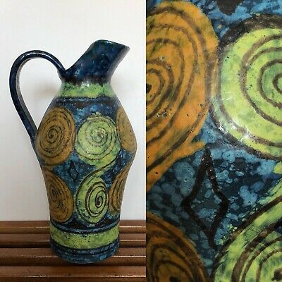 Vtg Mid Century Italy Pottery Pitcher Vase Blue Yellow Orange Bitossi 10""