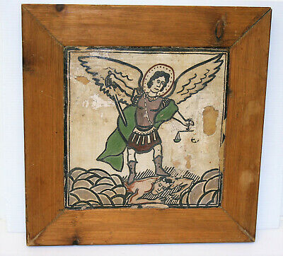 Antique Architectural Salvage Mural Tile Framed St. Michael Archangel Painting