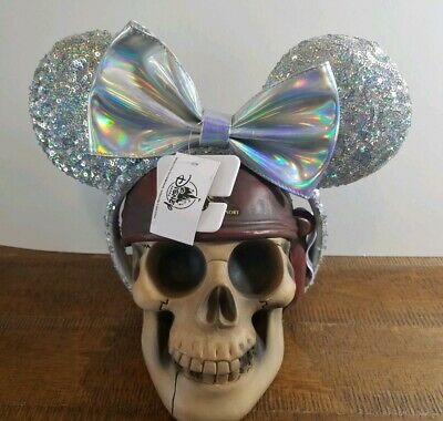 Disney Minnie Mouse Sequin Bow Glitter Ears Iridescent Silver Headband NEW w/Tag