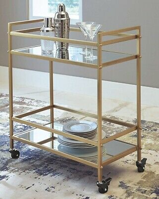 Bar Cart Gold Mini Rolling Mirrored Serving Drink Mid Century Style 2 Tier