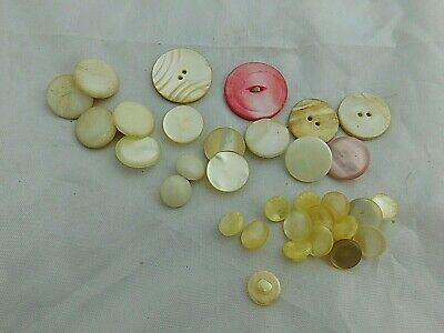 Lot of over 30 MOP Mother Of Pearl Buttons & Shank Buttons - Estate Find