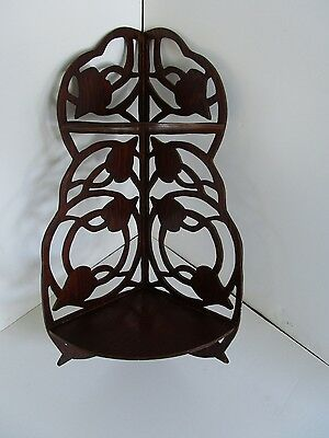"Wood Fretwork wall Corner shelf Curio 2 Tier tulips  hand cut Vintage 22 ½"" T"