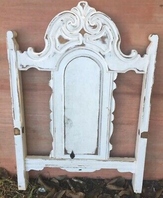 Architectural Salvage Wood Carved Pediment Chair Distressed White Farmhouse Chic