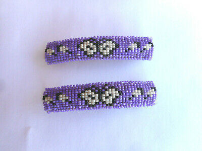 Navajo Indian Beaded Barretts Pair Purple Buckskin Backed Native American AZ