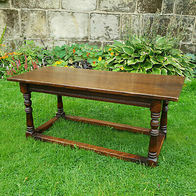 C17th Country Style Solid Oak Coffee Table (Titchmarsh & Goodwin)