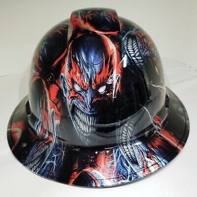 FULL BRIM Hard Hat custom hydro dipped VENOM SPAWN KILLER COLORS SUPER SICK