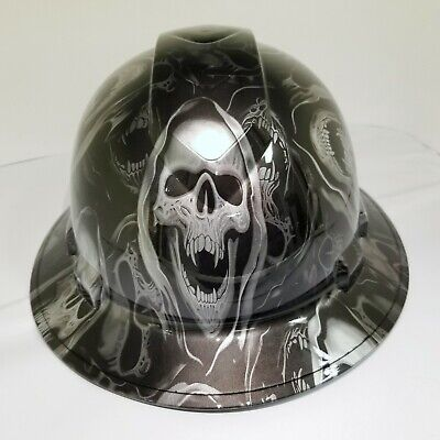 FULL BRIM Hard Hat custom hydro dipped SILVER  AND BLACK GRIM REAPER SKULL