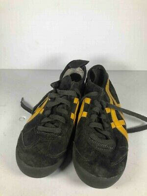 finest selection 99319 ba116 ASICS ONITSUKA TIGER Sneakers Black Yellow Suede Low Top HL7C2 Retro 6.5 New