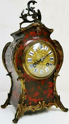 Antique French Untouched 8 Day Red Shell & Bronze, Striking Boulle Mantel Clock
