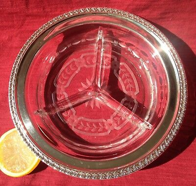 """Relish Bowl Triple-Divided Sterling Silver Decorative Rim 2003 Etched Glass 7"""""""