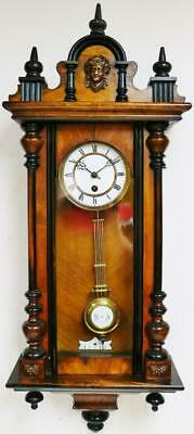 Antique German 8 Day Single Train Walnut & Ebonised Vienna Regulator Wall Clock