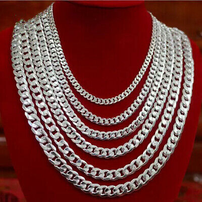 """Men's Solid 925 Sterling Silver Curb Chain Necklace 6 8 10 12mm Chunky 16"""" - 24"""""""