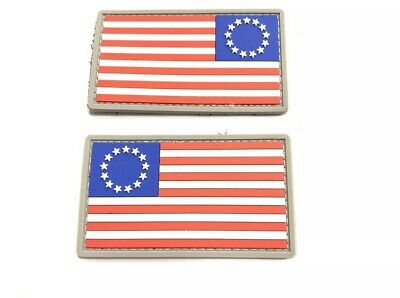 2 Morale Patches Betsy Ross USA Flag Forward & Reverse Battle Flag America