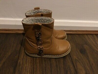 Next Tan Brown Leather Girls Boots With Flower Pattern & Lining Infant Size 8